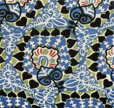 Lotte Frommel-Fochler. Printed silk textile design, c1913. Lotte Frommel-Fochler was an Austrian textile designer who produced a range of dynamic design work for the Wiener Werkstatte for some years before the outbreak of the First World War. She produced both fashion and interior fabrics and was one of the leading innovators in textile design during the first few years of the twentieth century