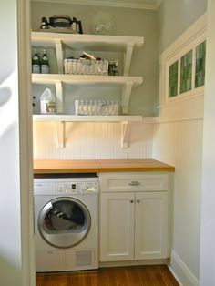 Open shelves & butcher block counters in the laundry room Pantry Laundry Room, Laundry Room Shelves, Laundry Room Design, Laundry In Bathroom, Laundry Rooms, Small Laundry, Butcher Block Countertops, Cottage Living, Living Room