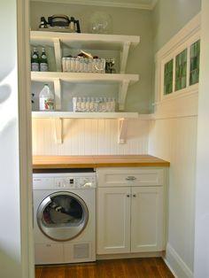 shelves/butcherblock. Laundry room
