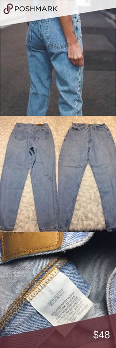 "Vintage High Waisted Mom Jeans A 13"" rise, 13.5"" waist band laying flat and 21.5"" hips lay flat. 100% non stretch cotton. Sized according to waist band and you should go strictly off measurements due to size difference from vintage to modern. Offers welcomed and I love to bundle. No Trades please. Vintage Jeans Boyfriend"