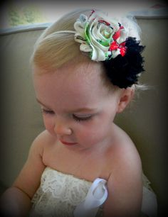 Black and multicolored shabby flower headband with red crystal bow in the center. Great price and low shipping!
