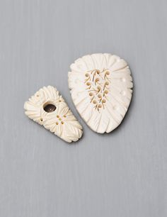 2 Vintage Carved Bone Dress Clips - shield shaped with pierced holes leaves - made in Japan by CuriosityCabinet on Etsy