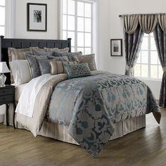 Bedroom Bedding Set Croscill Europa Comforter, bed comforters sets, twin bed comforters ~ Home Design Waterford Bedding, Blue Comforter Sets, Blue Bedding, Beautiful Bedrooms, Bedding Collections, Luxury Bedding, Bedding Shop, Comforters, Bedroom Ideas