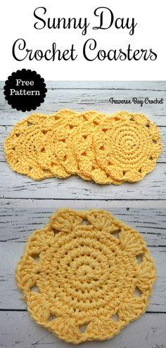 Sunny Day Crochet Coaster - Sunny Day Crochet Coaster - Learn the basics of how to crocheting, start Crochet Kitchen, Crochet Home, Crochet Gifts, Crochet Doilies, Crochet Yarn, Easy Crochet, Free Crochet, Crochet Summer, Blanket Crochet