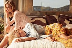 """Sister Act - """"People had been telling us for years that we needed to meet,"""" says Swift. """"I remember makeup artists and hair people going, 'God, she and Karlie would be best friends.' """" On Kloss: Bottega Veneta peach-and-yellow gingham cardigan and matching dress. On Swift: Michael Kors sky-blue poplin shirt and daffodil-embroidered tulle skirt. Eva Fehren X ring. Golden Thread double band."""