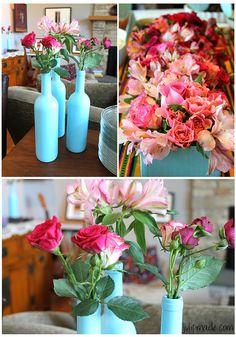 Easter brunch, Polish brunch, ombre flowers, spray painted wine bottles, floral arrangements, Julip Made