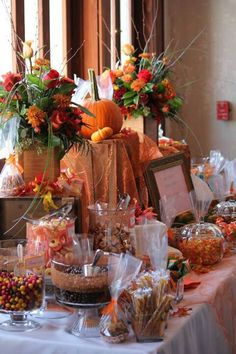 Fall candy favor table