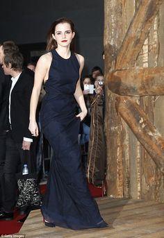 Elegant gown: Emma Watson looked stunning in the blue dress she wore to the Berlin premiere of Noah on Thursday night
