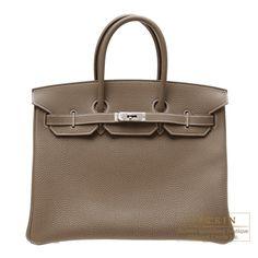 Hermes Birkin bag 35 Etoupe grey Togo leather Silver hardware