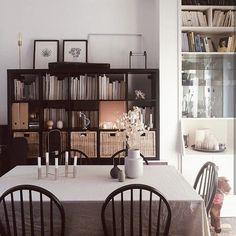 black, dining room Ikea Expedit, Monstera Deliciosa, Open Floor, Book Lovers, Minimalism, Bookcase, Shelves, Flooring, Display