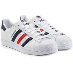 Adidas Originals Leather Superstar Sneakers ($115) ❤ liked on Polyvore featuring men's fashion, men's shoes, men's sneakers and white