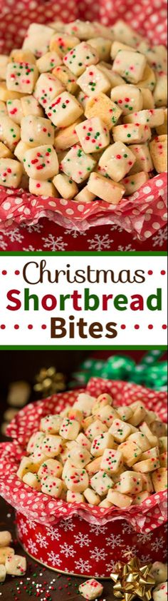 The BEST Christmas Cookies, Fudge, Candy, Barks and Brittles Recipes – Favorites for Holiday Treats Gift Plates and Goodies Bags! Christmas Shortbread Bites Recipe via Cooking Classy - The most pop-able fun to eat cookies out there! Holiday Desserts, Holiday Baking, Holiday Treats, Holiday Recipes, Christmas Recipes, Christmas Treats For Gifts, Easter Desserts, Holiday Gifts, Winter Recipes