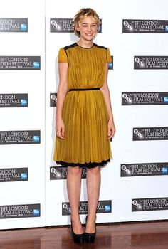 Carey Mulligan. Love her dress and her hair.