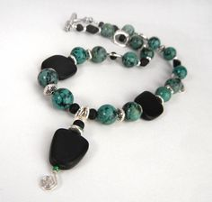 Genuine African turquoise gemstone necklace with by MadMamaMiller,