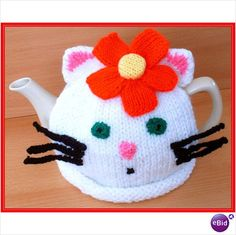 Handmade knitted kitty Tea cosy medium size Tea pot - @ ebid