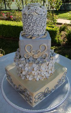 Grey, White and Ivory cake