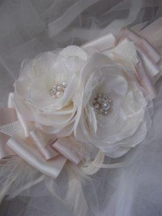 Vintage burlap rustic weddings bridal sash ivory by LeFlowers,