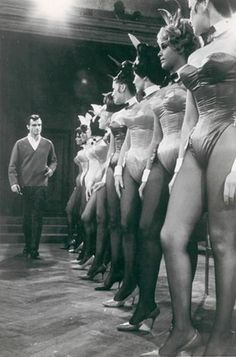Chicago Playboy Club, 1967 bunnies line up in the the Playboy Mansion forHugh Hefner's inspection