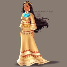 Disney Princesses x 🇵🇭: Pocahontas . Pocahontas wears a Binukot Attire (Traditional Womens Attire from the natives of Panay Bukidnon). Disney Pocahontas, Princess Pocahontas, Disney Princess Fashion, Disney Princess Art, Disney Fan Art, Disney Style, Disney Love, Pocahontas Drawing, Pocahontas Pictures