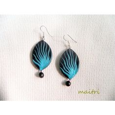 Blue Fire_Contemporary Terracotta Earrings    maitri_crafts@yahoo.com