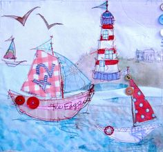 priscilla jones Light+House+and+Boat. Free Motion Embroidery, Free Machine Embroidery, Free Motion Quilting, Embroidery Applique, Sewing Crafts, Sewing Projects, Nautical Quilt, Applique Cushions, Fabric Cards