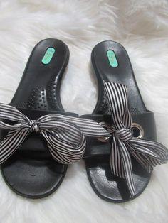 fb22da097d6 Okal Okabashi Striped Ribbon Tie Rubber Slides Size Medium (6.5 7M)  fashion