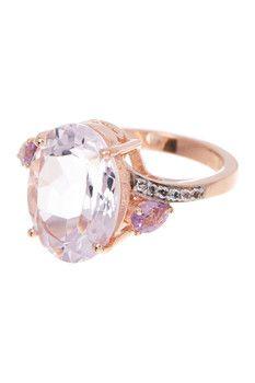 Olivia Leone 14K Rose Gold Plated Sterling Silver Pink Amethyst, Rhodolite, & White Topaz Ring