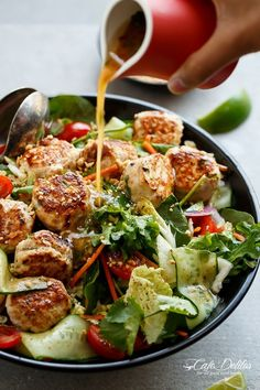 A Thai Chicken Meatball Salad full of Thai-inspired flavours, healthy, filling and low in fat, perfect for lunch or dinner.