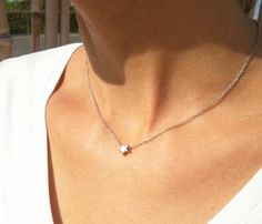 Silver star necklace Tiny silver necklace Star jewelry