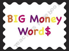 Big Money Word$ Word Wall for higher level science vocabulary $2