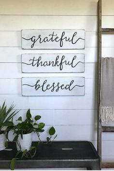 "living room decor | grateful, thankful, blessed signs| farmhouse decor | farmhouse wall decor | wood sign | rustic wall decor | 24""x 7.25"" rustic sign | rustic decor | home decor | gift idea #ad"