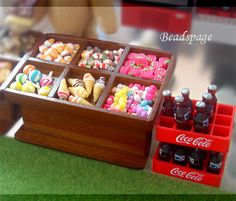 1:12 scale Dollhouse Miniature Candy & Soft Drinks Stall, Kiosk, Convenient Store, Wooden Shelf, Cute, Kawaii, Doll Fake Food, Petite Blythe on Etsy, $35.00