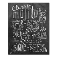 This design features a classic mojito recipe illustrated in chalk. It would make a great kitchen print for the summer months! ♥ Our fine art chalkboard prints will bring the rustic charm of a chalkboa