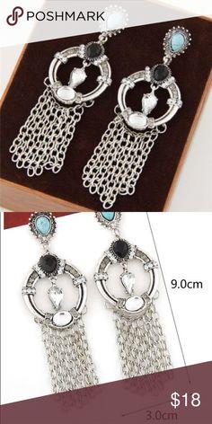 ❣EXTRAORDINARY❣ Antique Silver Tone Chain Tassel Earrings Jewelry Earrings