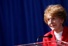 """Inspirational quotes by famous women: NANCY REAGAN """"There's a big, wonderful world out there for you. It belongs to you. It's exciting and stimulating and rewarding. Don't cheat yourselves out of this promise."""""""