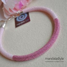 A sweet pink bead crochet necklace.