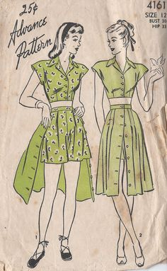 Vintage 1950's Misses' Two Piece Playsuit by CottageLaneTreasures, $15.00