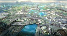 Fantasy Landscape, Urban Landscape, Science Fiction, New Tomb Raider, Types Of Fiction, Sci Fi City, Sci Fi Environment, R Wallpaper, Eden Project