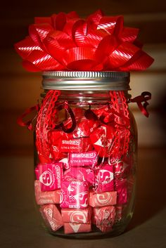 """I didn't buy flowers for Valentine's Day this year. You can't eat 'em. Well, you CAN...but they're not better than Starburst. This is part of the V-Day present that I put together for my wife. She loves the """"shades of red"""" Starbursts, so I did a little DIY project (with a little inspiration from Pinterest)."""
