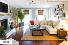 Love the color of this hardwood floor, the light color couch is perfect.