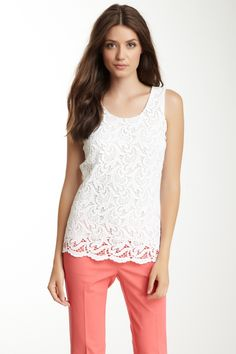 White lace with colored pants