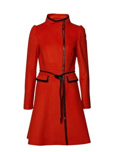 Nice red coat with black leather details