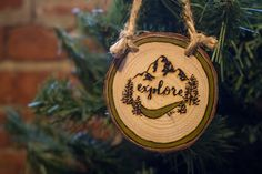 Explore | Rustic Wood Burned Wood Slice Ornament | Tree and Mountain Wood Burning with Hand Lettering by SouthRanchCreative on Etsy https://www.etsy.com/listing/499889351/explore-rustic-wood-burned-wood-slice