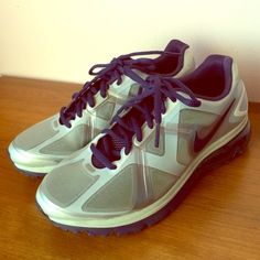 Nike AirMax Fitsole Excellerate Shoes. Worn once!  In Good condition. Color: gray and purple. Nike Shoes