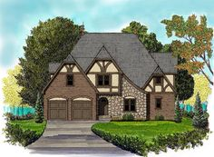 Country   Tudor   House Plan 53841 I like this one.  If we ever build a house, it will be a Tudor!