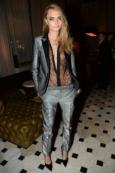 Menswear-inspired suit worn by Cara Delevigne