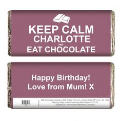 Keep Calm Eat Chocolate Chocolate Bar | Chocolate | Exclusively Personal