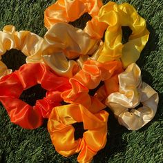 the Orange Satin collection🧡 available now i'm my Etsy Shop❣️ link in bio! Scrunchies, My Etsy Shop, Satin, Orange, Rose, Link, Flowers, Plants, Pattern