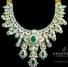 Diamond Set by Anantham Jewellers - Jewellery Designs Pearl And Diamond Necklace, Diamond Jewelry, Diamond Choker, Diamond Necklaces, Emerald Diamond, Diamond Rings, Indian Wedding Jewelry, Bridal Jewelry, Bridal Necklace