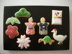 Japanese new year style sugar cookies Japanese Cookies, Japanese Sweets, Japanese Food, Sugar Cookie Frosting, Sugar Cookies, Icing, Japanese New Year, Japanese Style, Orient